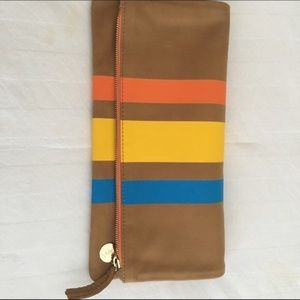 NEW Clare Vivier Fold Over Striped Leather Clutch
